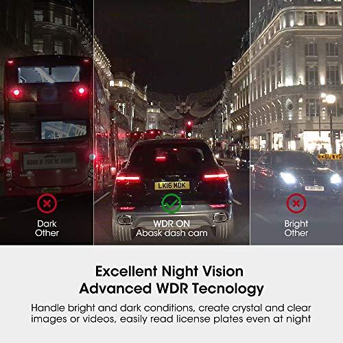"""51R nEi8%2B8L - Cámara de Coche, Abask Dash CAM 4"""" Visión Nocturna Full HD 1080P, 170° Gran Ángulo Cámara de Delantero y Trasero con Sensor G, WDR, grabación de Bucle, Monitor de Aparcamiento, Sensor Movimiento"""