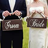 Creative Holz Bräutigam und Braut Hochzeit Stuhl Banner Set Zeichen von Stuhl Dekoration Party-Hochzeits-Vintage Zubehör de TIR