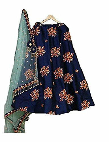 New Latest Bollywood Designer Multi Blue Embroidered Lehenga Choli