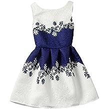 Moollyfox Niña Vestido Con Estampado Flor para Partido Boda Sin Mangas Vestido de Princesa 12 160CM