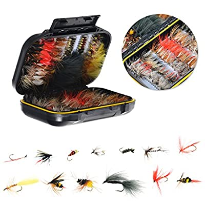 64/100/120PCS Fly Tying Material Fly Fishing Flies, Assorted Trout Fly Fishing Lure with Double Side Waterproof Pocketed Fly Box by OneStone