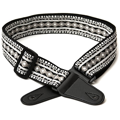 elagon-meg-grey-textured-woven-fabric-tapestry-pattern-guitar-strap-for-electric-acoustic-and-bass-g