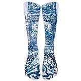 Blue Dress Damen Unisex Premium Wadenstrümpfe oder Kniestrümpfe, Sportsocken, 52 cm hoch, Polyester und Baumwolle, Outdoor-Strümpfe, Tennis-Sport-Strümpfe, weiß, Einheitsgröße