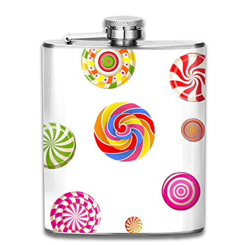 Werert Stainless Steel Flasks 7 Oz Lollipop Candy Cane Cotton Candy Candy Whiskey Flask Hip Flask Leak Proof Wine Men Women