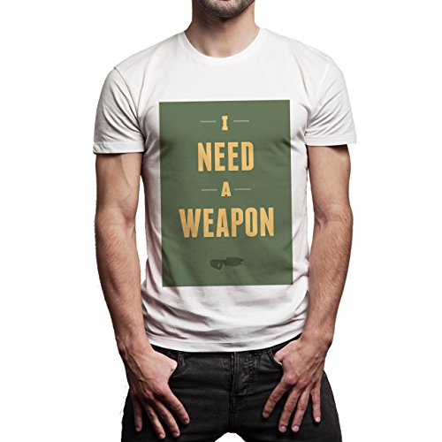 I Need A Weapon This Is Me Background Herren T-Shirt Weiß