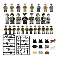 Paradesour Figures Building Bricks, Building Block Toy Set, Army Mini Figures Play Set, Assemble Removable Military Toys Figures Car Party Favors Fits Boys and Girls