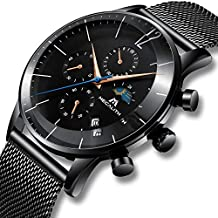 Relojes Hombre Relojes de Pulsera Deportivos Militar Cronógrafo Malla Reloj  de Acero Inoxidable Negro Caballero Calendario 0620be711e1b