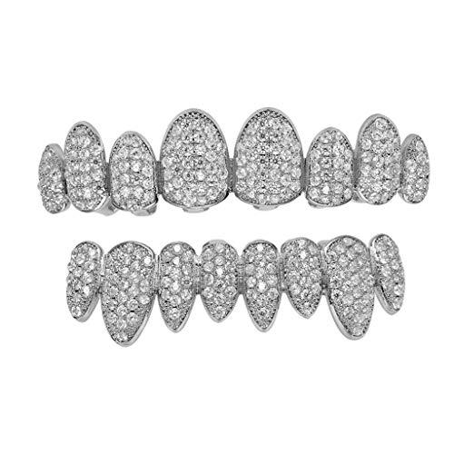 Nwlzx 24K Vergoldeter Iced Out Grillz 24K mit Micropave CZ Diamanten 2 Extra Formteile/Weißgold/Silber/Gold/DiamantenG