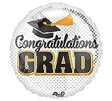 "Burton & Burton 28"" Grad Silver Dots Congratulations Foil Balloon"