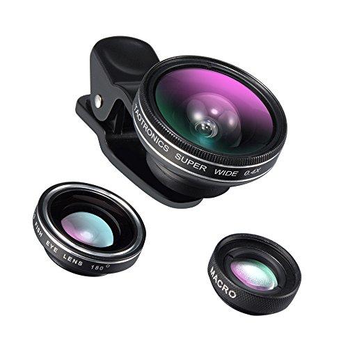TaoTronics Fisheye Fischauge Objektiv Set Handy Clip On Kamera Adapter (180 Grad Fisheye Objektiv, 10x Macro Objektiv, 0,4x Weitwinkelobjektive)