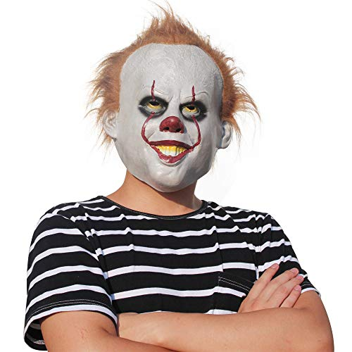 AKCHIUY Halloween Scary Latex Clown Masken, Clown Halloween Kostümzubehör Adult Latex Ghost Halloween Evil Killer,Unisex-OneSize