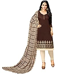 Rajnandini Women's Chanderi Cotton Embroidered Dress Material (Brown_Free Size)
