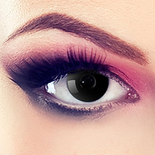 Linsen crazy Fun Halloween Karneval Kostüm Kontaktlinsen Motivlinsen 3 Monatslinsen ohne Stärke Schwarz - Black Eye ()