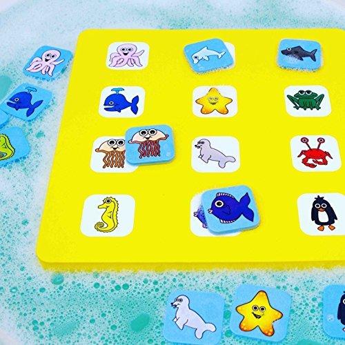 Matching-spiel Tier (Memory & Matching Spiel für Kleinkinder – schwimmendes Badespielzeug - 24 Tierkarten (2 in 1 Spiele) - Lernspielzeug)