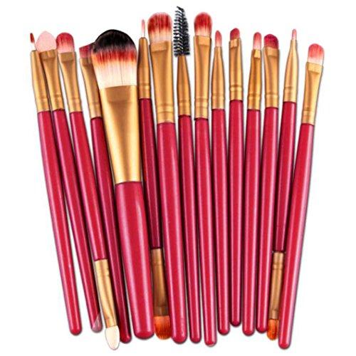 BZLine® Pinceax Maquillage, 15Pcs Pinceaux Maquillage Professionnel pour les Poudres, Anticernes, Contours, Fonds de Teints, Mélanges et Eyeliner - Multicouleur (P)