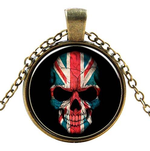 Ultra ® British Skull Style Classic Unisex Steampunk Halskette Great Style Unisex Gothic Cosplay Vintage Cyber Männer Frauen Schmuck Cosplay Schädel Zahnräder (British Of Best Kostüme)