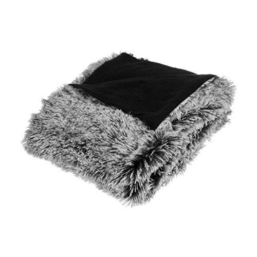 Plaid couvre lit à poils longs - Doux et Epais - Coloris Noir et GRIS