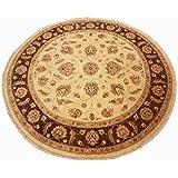 Runder Orientteppich Ziegler ca. 179 cm Ø Beige - feine Qualität - moderner Teppich - oriental round carpet best quality