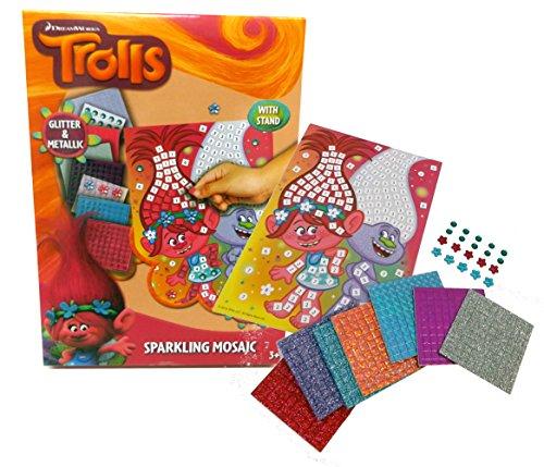 Brigamo TR17316 - Trolls Mosaik Kinder Bastelset mit vielen Glitzersteinen thumbnail