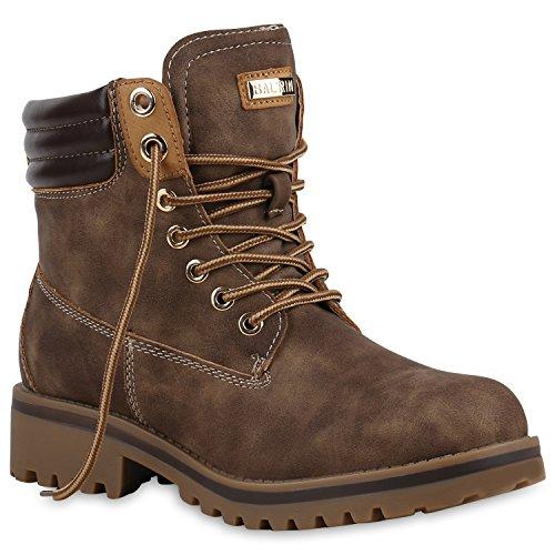 Stiefelparadies Warm Gefütterte Stiefeletten Damen Worker BootsOutdoor Winterstiefel Schnür Wildleder-Optik Schuhe 125750 Braun 36 Flandell