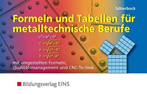 formelsammlung bis zum abitur Formeln und Tabellen für metalltechnische Berufe. Mit umgestellten Formeln, Qualitätsmanagement und CNC-Technik