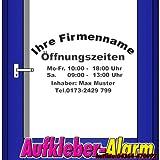 Öffnungszeiten-Aufkleber Inhaber Wunschtext Schnörkel bis zu 60 cm Breite, 1- farbig, freigestellt ,Geschäfstzeiten