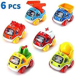 Amy & Benton Véhicules à Tirer, Paquet de 6 véhicules de Construction Cartoon, Jouets, Petites Voitures à Tirer Jouent pour Les Enfants en Bas âge Garçons 1 2 3 Ans