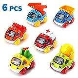 Amy & Benton Autos Spielzeug für 1 2 Jahre alt, ziehen Fahrzeuge zurück Cartoon BAU Fahrzeuge Spielzeug, Mini ziehen und gehen Spielzeugautos Spielen Set für Kinder Kleinkinder Jungen