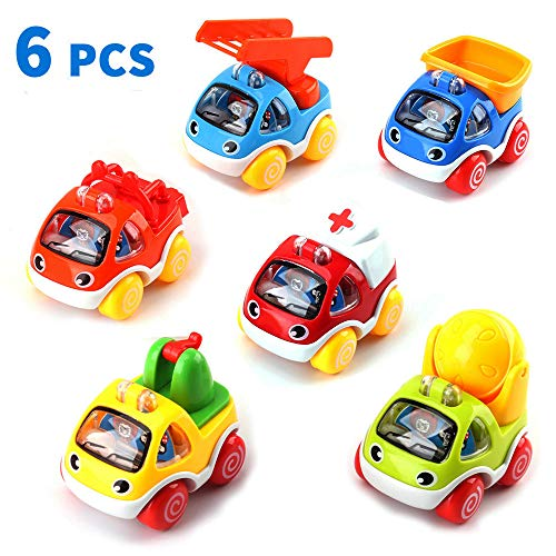 Amy & Benton Toy Cars, Toy Trucks Vehicles, 6PCS Pull Back Toy Car for Boys Girls