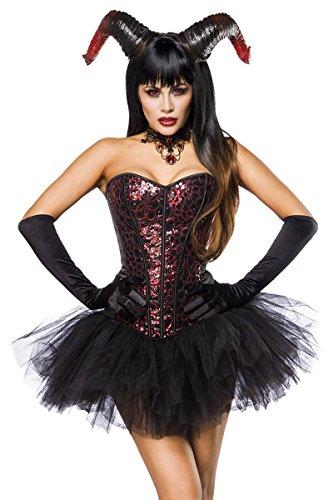 Sexy 5 tlg. Teufelskostüm Kostüm Teufel Damen Damenkostüm Devil Set Schwarz (Rote Teufel Kostüm)