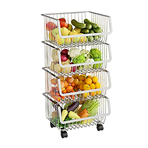 Stapelbarer Aufbewahrungskorb aus Metalldraht - Küche Multifunktionale Edelstahl Drahtkorb Lagerregal Stehkorb Ideal für Obst Lebensmittel Gemüse (Edelstahl) -
