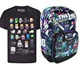 Official Minecraft Tales from The End Backpack and Sprites T-Shirt Gift Set Bundle