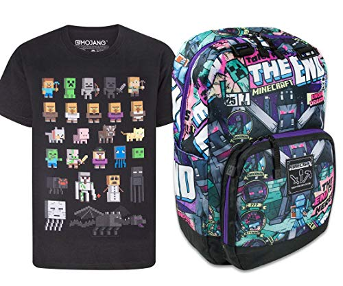 Minecraft Tales from The End Backpack and Sprites T-Shirt Gift Set Bundle