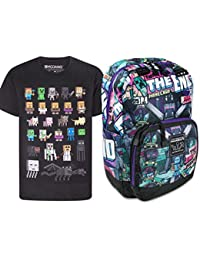 Official Minecraft Tales from The End Backpack and Sprites T-Shirt Gift Set  Bundle aa8fbf140c0ae