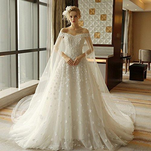 Dhg la spalla della sposa È sottile e lussuosa abito da sposa a coda lunga,bianca,m