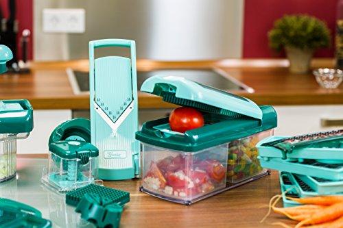 Genius Nicer Dicer Fusion Lot de 13 pièces pour découper les légumes, plastique, couleur eau verte