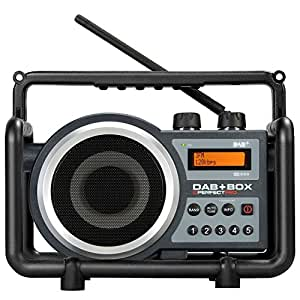 PerfectPro DAB+ BOX Baustellenradio/Outdoorradio mit UKW und DAB+ / Digitalradio, AUX-Eingang, Stationsspeicher, LCD-Display, RDS inklusive 4 Hochleistungsakkus, geeignet für Baustellen, Garten, Werkstatt oder Campingplatz