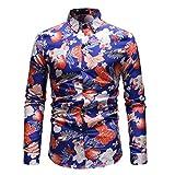 LuckyGirls Camisas Formales de los Hombres Camisetas de Manga Larga Estampado de Flores Entalladas Negocio Camisas (Azul Oscuro,L)