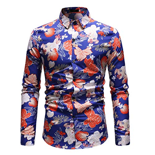 Men Printed Long-Sleeve Beefy Muscle Basic Solid Blouse Tee Shirt Top by LuckyGirls