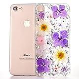 MAOOY iPhone 8 Hülle, iPhone 7 Klare Silikoncover, Elegante Farbig Real Flower Blütenblätter und Bling Gold Foil Transparent Slim Schlank Taschen für iPhone 7/8, Farbenfrohe Blumen