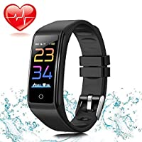 Fitness Tracker HR, Activity Tracker Watch with Heart Rate Monitor, Waterproof Smart Fitness Band with Step Counter, Calorie Counter, Pedometer Watch for Kids Women and Men (Black)
