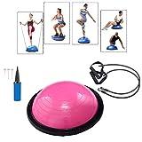 Baumarktplus Yoga Gymnastik Balance Half Ball pink Trainingsball Fitnessball ø 60cm Balance Trainer mit Zugbändern und Pumpe, beidseitig nutzbar