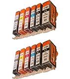 Start - 12 Ersatz CHIP Patronen kompatibel zu PGI-525/ CLI-526, Schwarz, Photo Schwarz, Cyan, Magenta, Gelb, Grau
