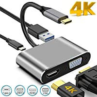 Aiyoudemutou USB C to HDMI VGA Adapter, 4 in 1 USB C Hub with 4K HDMI,1080P VGA,USB 2.0,USB C PD Charging, Mirror & Extend Display, Type C Multiport Adapter for MacBook Pro