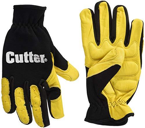 Leder-Anti-Vibrationshandschuhe gel-gepolstert, Anti-Vibe für Elektrowerkzeuge, zur Gartenarbeit, Medium, schwarz / gelb, 1 -