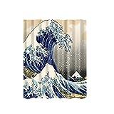 Generic 180x180cm Wasserdicht Polyester Duschvorhang mit 12 Haken - Welle , 180 * 180cm