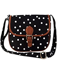 Mabel Livia Black Convas Polka Dot Sling Bag With PU Flap