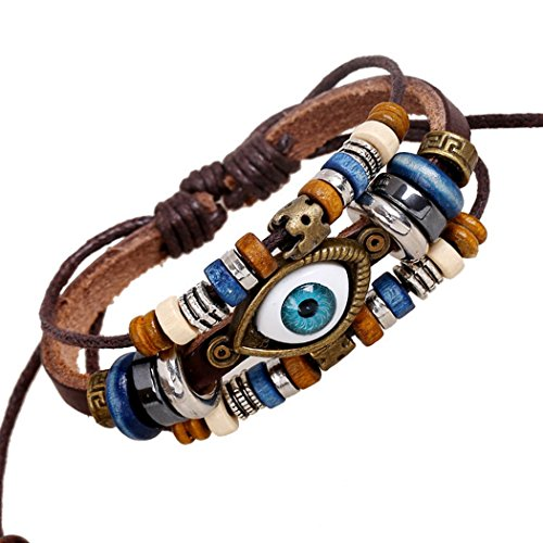 Mehr Spaß Charm Evil Eye Armband Design Multilayers Leder Manschette Herren Frauen Favor Armreif Braun (Auge Junioren)
