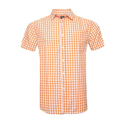 Soopo uomo casual plaid manica corta camicie button down, camicia estiva carina e comoda, arancia l
