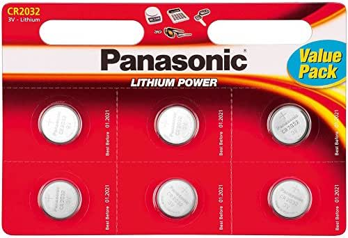 Carte de 6 batteries Panasonic CR2032 Lithium 3V